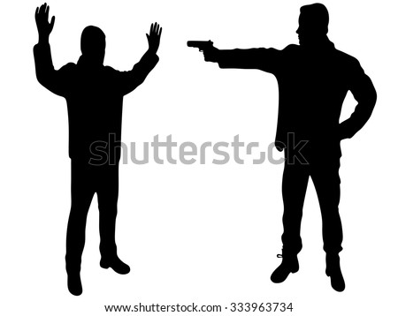 man aiming to another with a gun - stock vector
