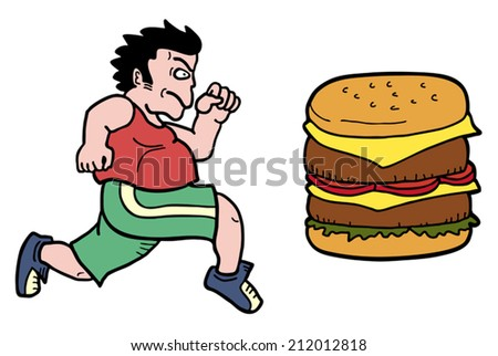 Man and burger - stock vector