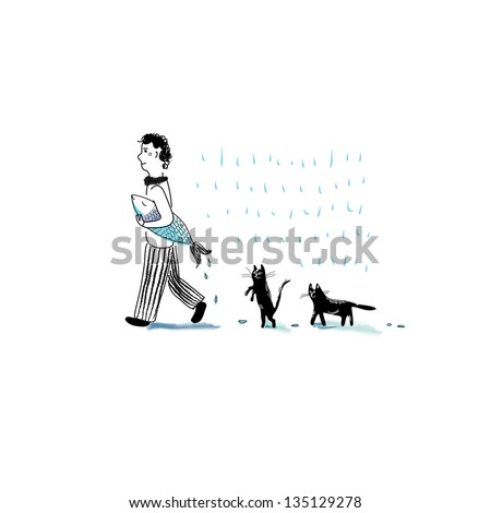 Man and cats - stock vector