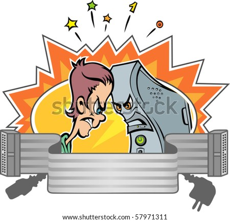Man and computer bang their heads. This symbolic expression demonstrates the collision of human and artificial intelligence. - stock vector