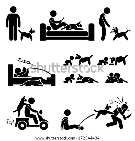 Man and Dog Relationship Pet Stick Figure Pictogram Icon - stock vector