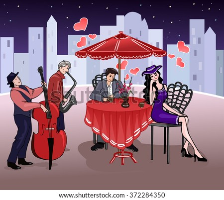 Man and elegant woman in a summer cafe. Romantic date. Mutual feelings. Night meeting. Couple in love. Street musicians. Pleasant chat under the stars. Valentine's Day. Vector illustration.