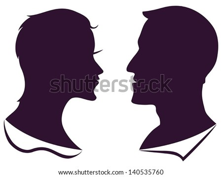 man and female profile silhouette - stock vector