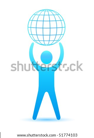 Man and globe - stock vector