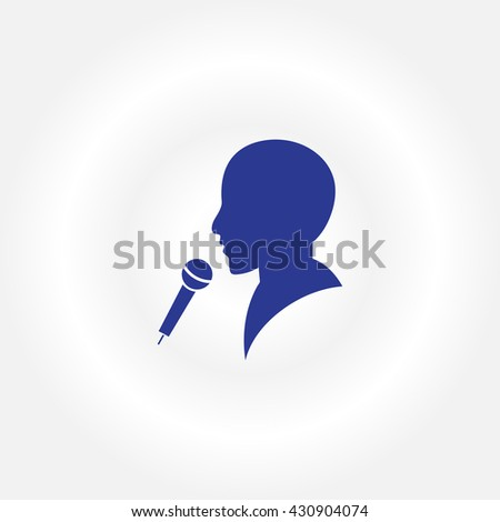 Man and microphone icon, vector illustration. Flat design style - stock vector