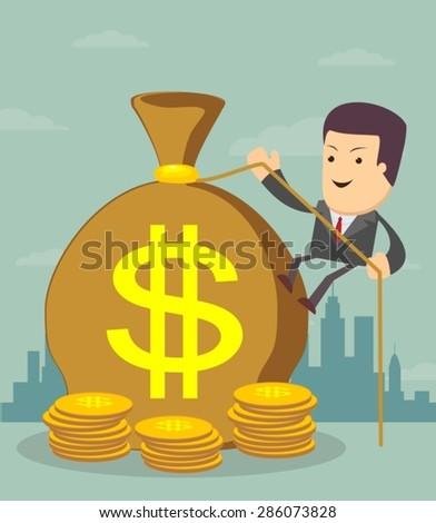 Man and money bag. Money making. Bank deposit.  Financials.Vector illustration. - stock vector