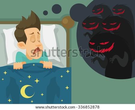 Man and nightmare. Vector flat illustration - stock vector