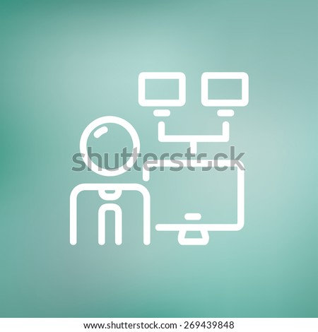 Man and screen with cameras icon thin line for web and mobile, modern minimalistic flat design. Vector white icon on gradient mesh background. - stock vector