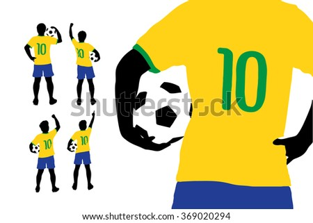 Man and soccer silhouette, Brazil soccer player man with ball - stock vector