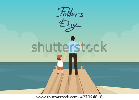 Man And Son Father Day Holiday Standing on Wooden Dock Looking Ocean Horizon Rear View Vector Illustration
