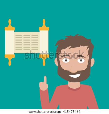 Man and Torah scroll icon - stock vector