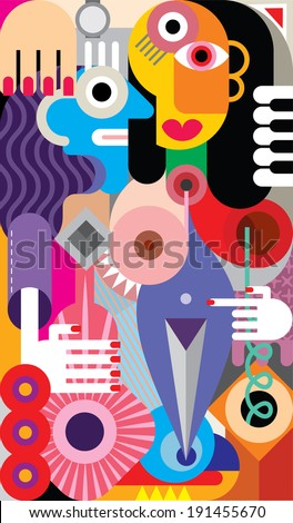 Man and Woman - abstract vector illustration - stock vector