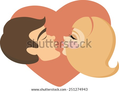 Man and woman are going to kiss, face profile. Pop-art style, background in the shape of heart.
