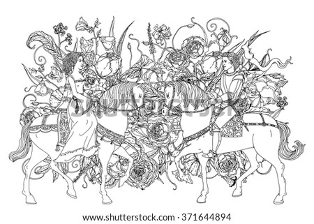 man and woman as fairy tale princess and prince from on floral ornament. Zentangle interpretation. Black and white. Vector illustration could be use for coloring book, wedding or valentines day cards - stock vector