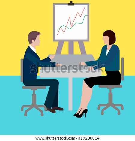 man and woman at the table, business communication, schedule, interview. - stock vector