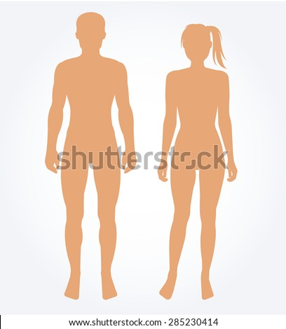 Man and woman body template. Vector illustration - stock vector