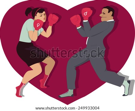 Man and woman boxing, heart shape on the background, vector illustration - stock vector