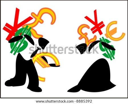 man and woman carrying money signs (Can be used individually) - stock vector