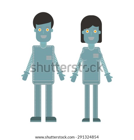Man and woman characters. Robot - stock vector