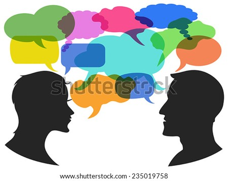 man and woman chat with speech bubbles