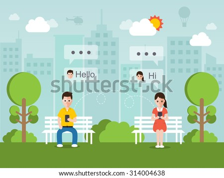 man and woman chatting online on social network with smartphone. - stock vector