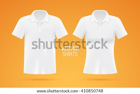 Man and woman clean white shirts, isolated on background.  - stock vector