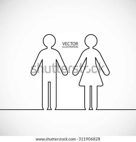 Man and woman contours and a place for text. Vector illustration. - stock vector