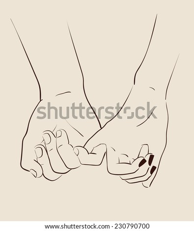 Man and woman couple holding hands. Vector illustration eps 10