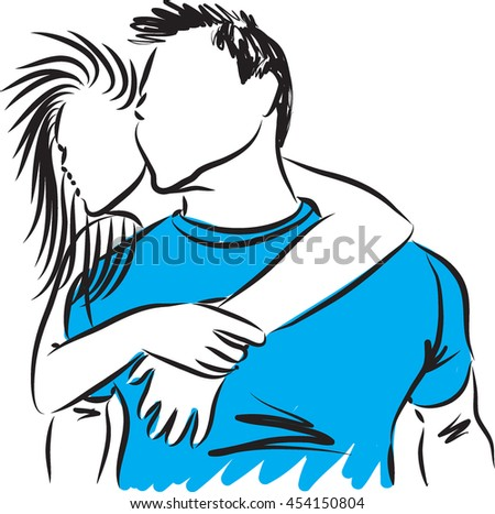 man and woman couple illustration - stock vector