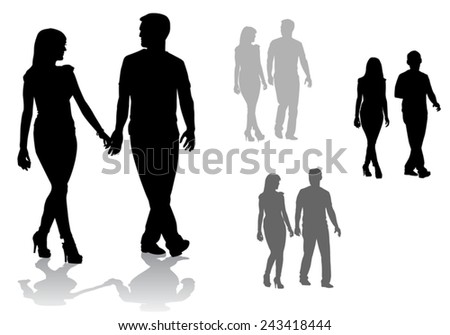 Man and woman. Couple of young people walking