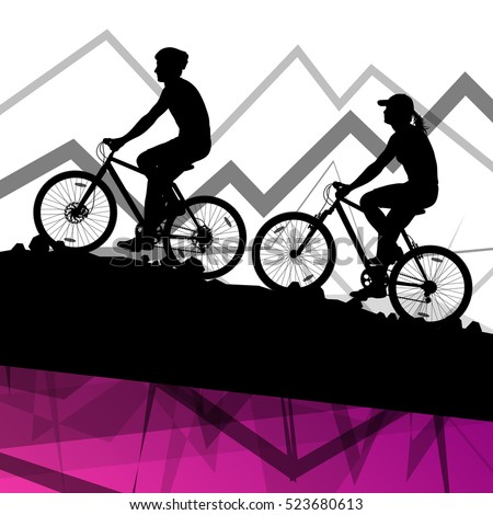 Man and woman cyclist bicycle rider sport silhouettes in mountain wild nature landscape background illustration vector