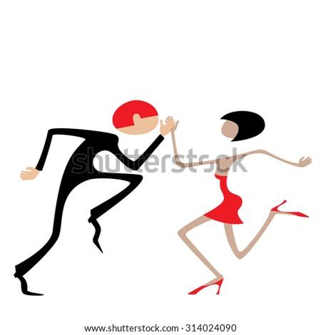Man and woman dancing. Dancing couple. Caricature. Flat. - stock vector