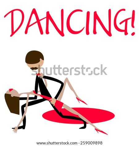 Man and woman dancing. Dancing couple. Waltz. Caricature. Flat. - stock vector