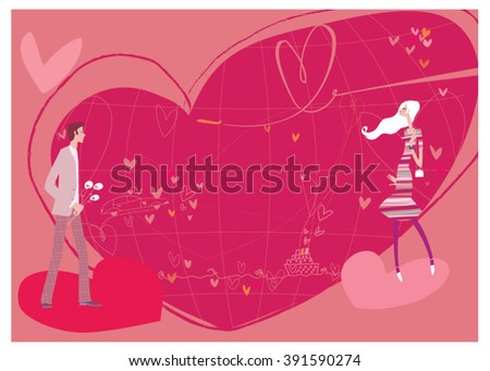 Man and woman dating. Love map background. Love map. Destination love. Wedding proposal. Man and woman date. - stock vector