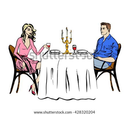 Man and woman drinking wine. Dating in restaurant - stock vector