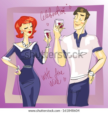 Man and woman drinking wine, vector sketch - stock vector