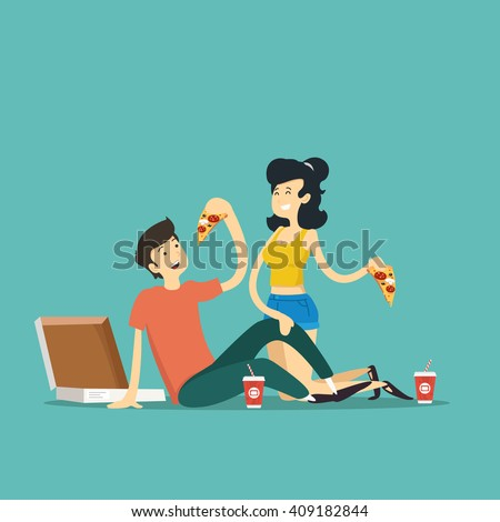 man and woman eating pizza. Vector illustration.  - stock vector