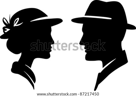man and woman face profile, male female couple - stock vector