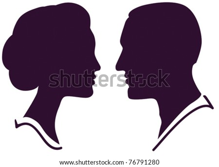 man and woman face profile, vector male female couple - stock vector