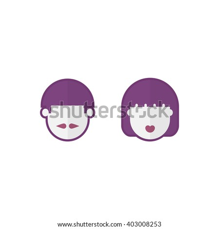 Man and woman, face, vector illustration