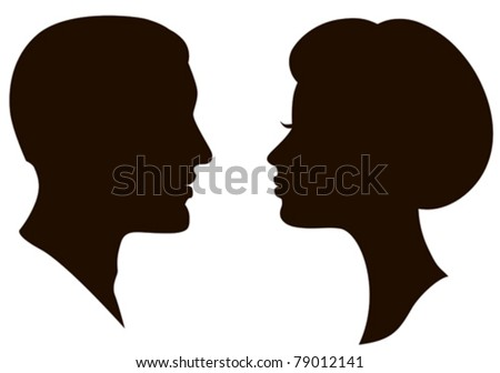 man and woman faces vector profiles - stock vector