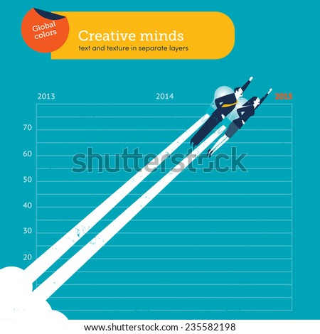 Man and woman flying with a bulb over year 2015. Vector illustration Eps10 file. Global colors. Text and Texture in separate layers. - stock vector