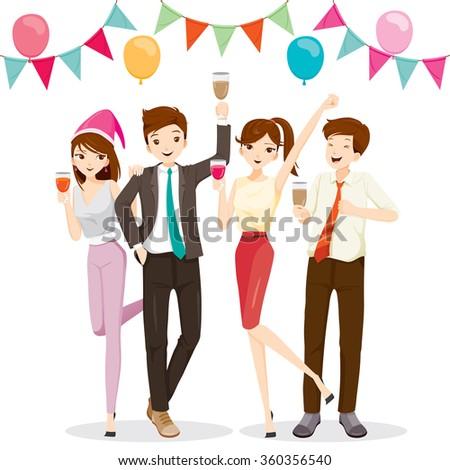 Man And Woman Fun In Party With Drink, Corporate, Banquet, Feast, Company, Celebration - stock vector