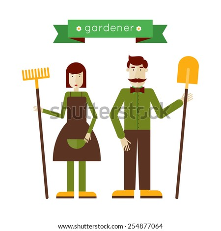 Man and woman gardeners standing full length. Environmental activities. Gardening icons set. Home and garden. Modern flat style. Vector illustrations. - stock vector