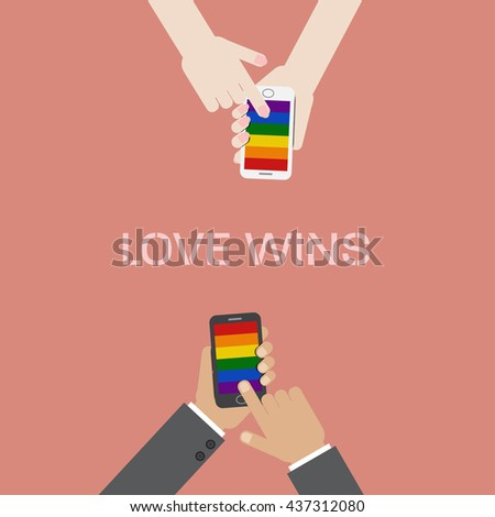 Man and woman hand hold and touch screen smart phone with LGBT flag screen saver.