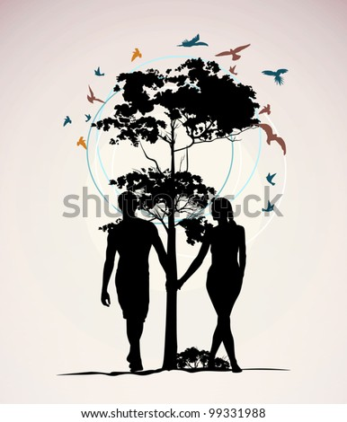 man and woman holding hands on the background of a tree with birds - stock vector