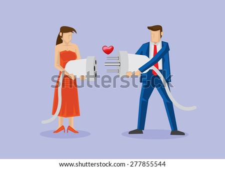 Man and woman holding male and female 3-pin electric plug and socket with heart shape in between. Creative vector cartoon illustration for love connection concept. - stock vector