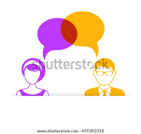 Man and woman icon with dialog speech bubbles - stock vector