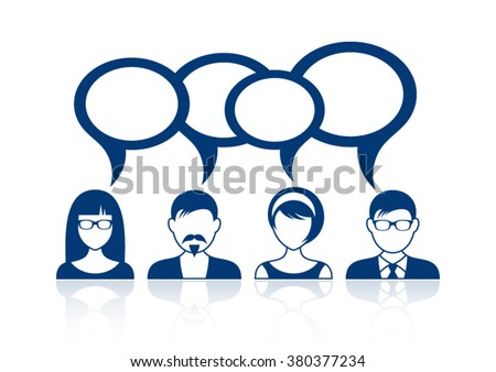 Man and woman icons with blank speech bubbles - stock vector