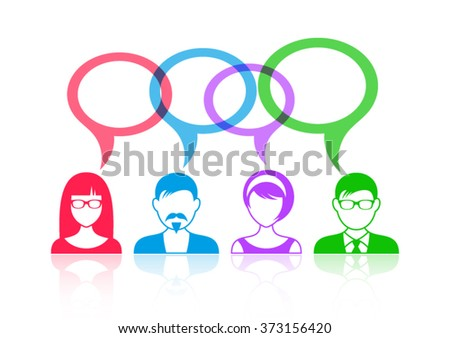 Man and woman icons with colorful speech bubbles - stock vector